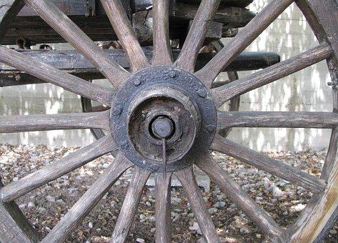 Wheel, Wagon, Old, Wooden, Hub, Spokes, Antique