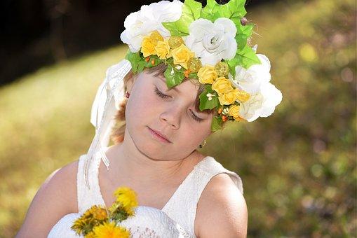 Human, Child, Girl, Face, Headdress, Flowers, Meadow