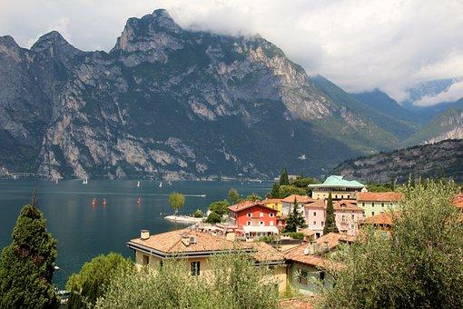 Italy, Torbole, Garda, Clouds, Mountains, Panorama