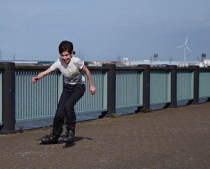 Rollerblades, Teen, Fun, Boy, Happy, Active, Joy, Sport