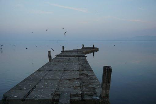 Lake, Jetty, Winter, Water, Nature, Blue, Horizon