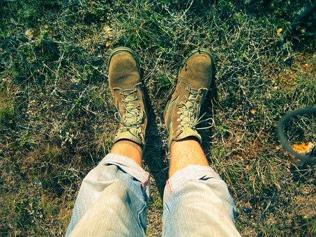 Legs, Hiking, Shoes, Grass, Land, Pants, Shoelace, Man