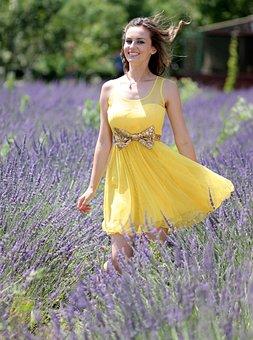 Girl, Lavender, Dress, Yellow, Beauty, Flowers, Nature