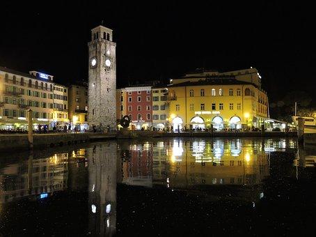 Night, Lake, Piazza, Campanile, Palaces, Lights