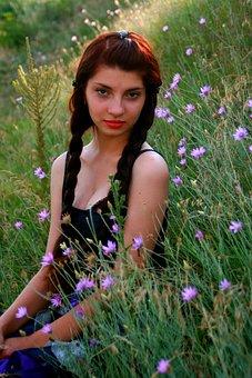Girl, Flowers, Mov, Field, Braided Hair, Summer
