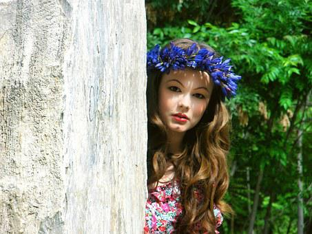 Girl, Nature, Wreath, Summer, Outdoors, Flowers, Hair