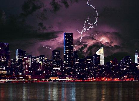 City, Skyline, Night, River, Buildings, Clouds