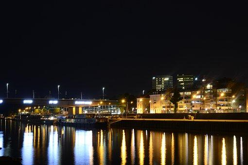 Night Scene, Arnhem, Rhine, Quay, Water, Cityscape