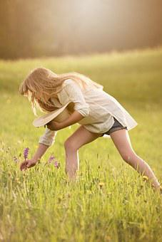 Pick Flowers, Girl, Person, Human, Female, Meadow