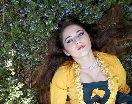 Girl, Dress, Residence, Nature, Flowers, Blonde