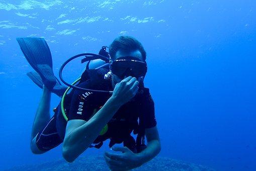 Diving, Diver, Scuba Diving, Fin, Blue, Sea, Water