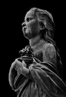 Angel, Girl, Sculpture, Statue, Fig, Stone Sculpture