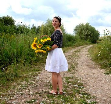 Sunflower, Young Lady, Summer, Pretty, Young Girl
