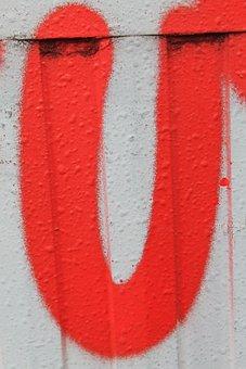 Letter, U, Red, Symbols, Write, Information, Abc