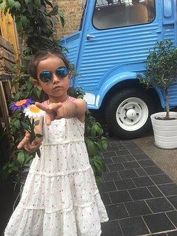 Hippy, Van, Girl, Sunglasses, Flowers