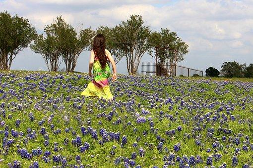 Blue Bonnets, Flowers, Girl, Nature, Spring, Wildflower