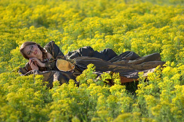 Girl, Flowers, Princess, Yellow, Beauty, Spring, Dress