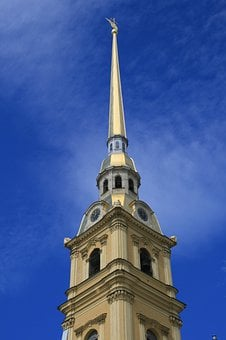 Cathedral, Bell Tower, Spire, Golden, Tall, Landmark