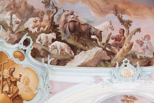 Fresco, Ceiling Painting, Christian, Catholic, Church
