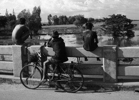 Boys, Children, Watching, River, Fishing, Childhood