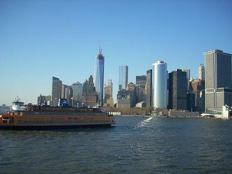 New York City, Skyline, Staten Island Ferry, City