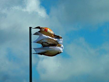 Flag, Forward, Strong Winds, Clouds, Weather