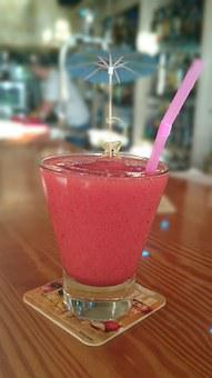 Strawberry Drink, Ice, Straw, Pink, Cockail, Red, Drink