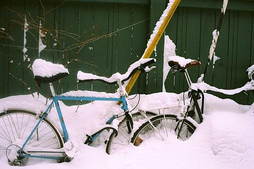 Bike, Winter, Season, Fence, Covered Up, Cold, Parked