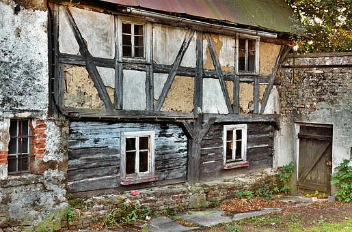 Building, Crash, Half-timbered Wall, Wattle And Daub
