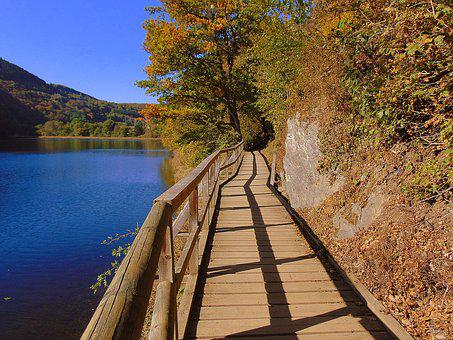 Heimbach, North Eifel, Reservoir, Trail, Boardwalk
