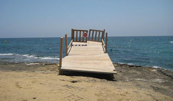 Spain, Jetty To Nowhere, No Entry, Tilting, Bent, Sea