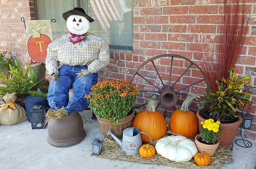 Scarecrow, Fall, Autumn, Pumpkin, Decoration, Orange
