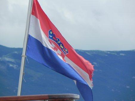 Flag, Sky, Mountains, Flutter, Wind, Croatian Flag