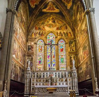 Italy, Florence, Santa Maria Novella, Stained Glass