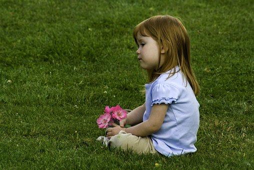 Child, Girl, Little, Tired, Sitting, Lawn, Grass, Rose
