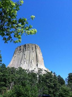 Devils Tower, Tree, Sky, Tower, Wyoming, National
