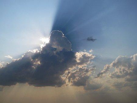 Sectioned Sky, Sliced, Light, Shafts, Blue, White