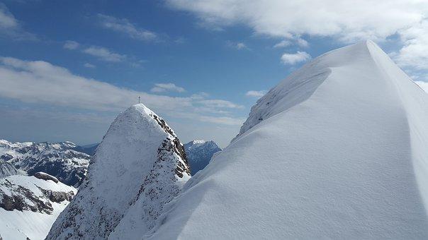 Schneck, Summit, Mountains, Sky Horn, Allgäu, Winter