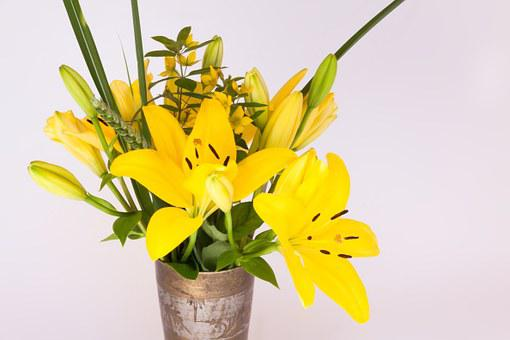 Bouquet, Lily, Yellow, Nature, Flower, Blossom, Bloom