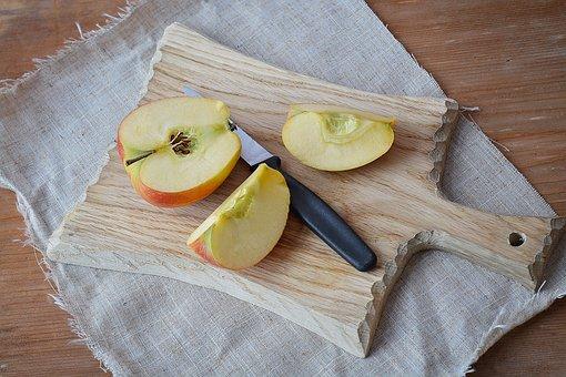 Apple, Bio Apple, Cut, Sliced Apple, Cutting Board