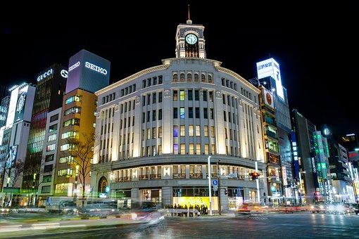 Ginza, Wako, Tokyo, Architecture, Asian, Blue, Bright