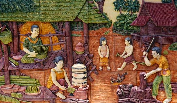 Thailand, Village, Scene, Thai People, Art, Culture
