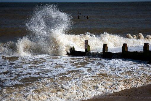 Breakwater, North Sea, Waves, Breakers, Shore, Beach