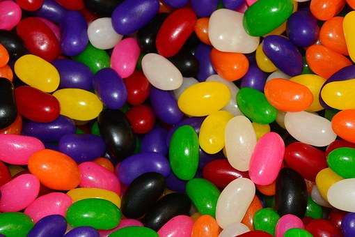 Jelly Beans, Candy, Sugar, Sweets, Green, Purple, Red