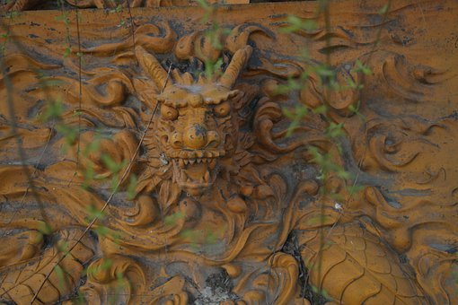 Dragon, Sculpture, Bas-relief, Gold, Yellow