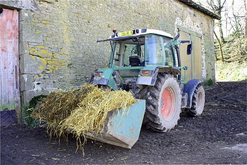 Tractor With Straw, Farmyard Straw, Tractor In Yard