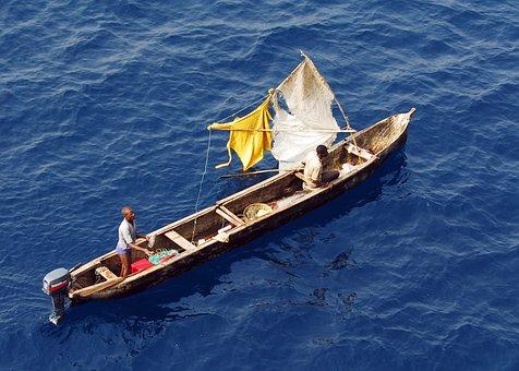 Gulf Of Guinea, Boat, Fishermen, Sea, Ocean, Water