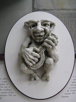 Art, Figure, Music, Old, Funny, Bas-relief, Portrait
