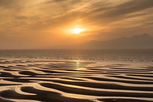 Sunset, Japan, Kyushu, Tideland, Sea, Kumamoto, Orange