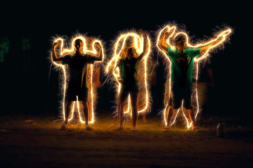 Light Painting, Sparkler Writing, People Outline